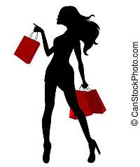 мешки, женщина, силуэт, молодой, черный, красный