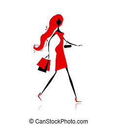 мешки, мода, поход по магазинам, дизайн, девушка, ваш