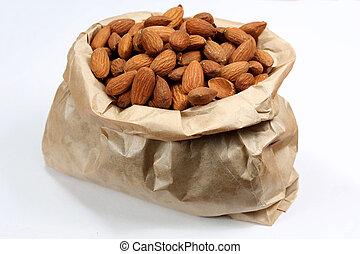 мешок, бумага, almonds