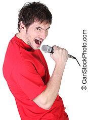 микрофон, пение, человек