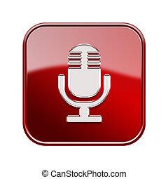 микрофон, isolated, глянцевый, задний план, белый, красный, значок