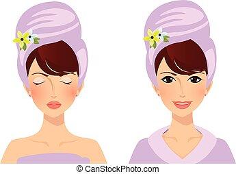 милый, глава, полотенце, после, спа, девушка, procedures, до