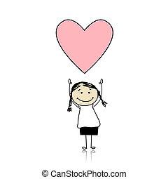 милый, держа, сердце, -, валентин, святой, девушка, день