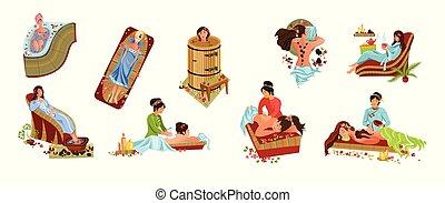 милый, иллюстрация, мультфильм, квартира, вектор, лечение, задавать, relaxing, спа, девушка, принятие, салон, стиль