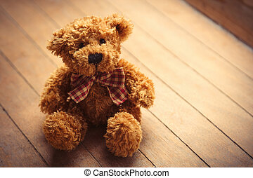 милый, коричневый, тедди, деревянный, пушистый, медведь, замечательно, задний план