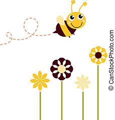 милый, летающий, isolated, пчела, белый, цветы