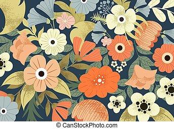 милый, луг, шаблон, весна, цветы, красивая