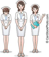 милый, медсестра, задавать, welcoming, молодой