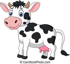 милый, мультфильм, корова