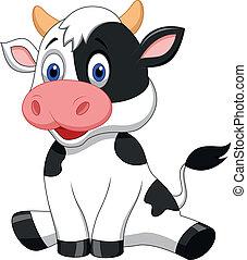 милый, мультфильм, корова, сидящий