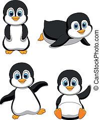 милый, мультфильм, пингвин