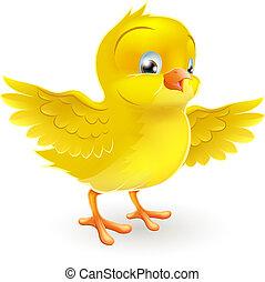 милый, немного, счастливый, желтый, цыпленок