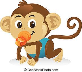 милый, обезьяна, pose., ползком, успокоитель, детка