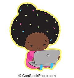 милый, сидящий, dark-skinned, laptop., набрав, девушка