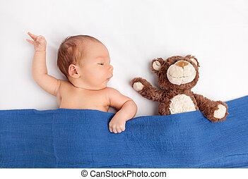 милый, тедди, одеяло, медведь, новорожденный, под, детка