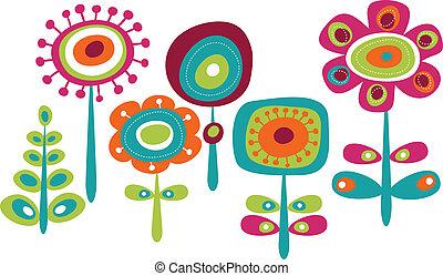 милый, цветы, красочный