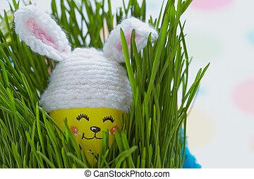 милый, яйцо, украшение, пасха, кролик, шапка