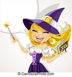 милый, magick, ведьма, молодой, палочка