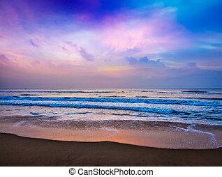мирное, восход, океан
