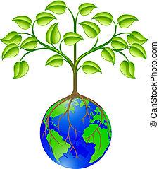 мир, земной шар, дерево