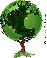 мир, земной шар, концепция, дерево