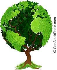 мир, земной шар, концепция, дерево, земля
