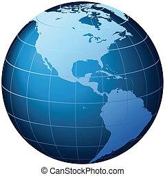 мир, земной шар, -, usa, посмотреть