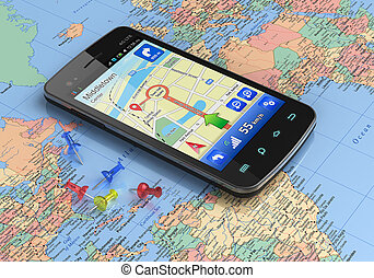 мир, карта, gps, смартфон, навигация