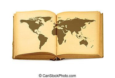 мир, книга, открытый, карта