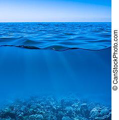 мир, спокойный, чисто, обнаруженный, подводный, поверхность, небо, все еще, море, воды