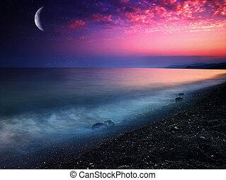 мистический, натуральный, абстрактные, backgrounds, sea.