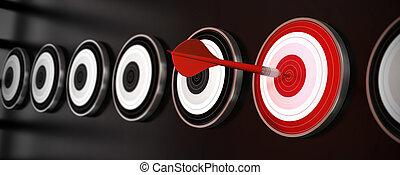 мишень, удар, центр, многие, над, стиль, один, targets, черный, задний план, горизонтальный, дротик, баннер, отражение, красный
