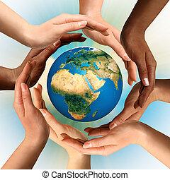 многорасовый, окружающих, земной шар, земля, руки