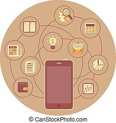 мобильность, концепция, бизнес, коричневый