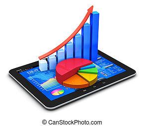 мобильный, статистика, концепция, финансы