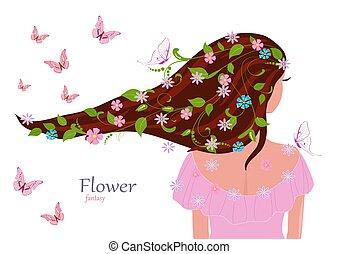 мода, ее, leaves, волосы, дизайн, девушка, цветы, ваш