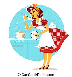 мода, ретро, суп, молодой, домохозяйка, готовка, платье