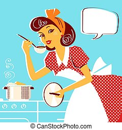мода, ретро, суп, молодой, портрет, домохозяйка, готовка, платье