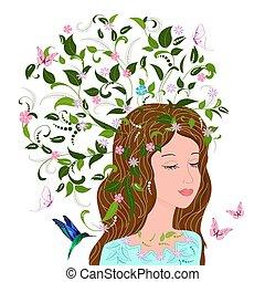 мода, фантазия, волосы, дизайн, цветочный, девушка, ваш
