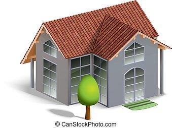 модель, белый, isolated, здание