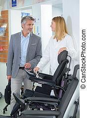 модель, пара, новый, инвалидная коляска