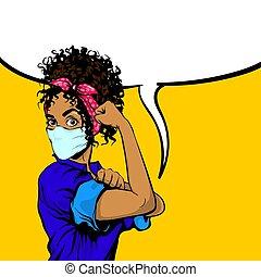 можно, африканец, женщина, мы, черный, это, маска, медицинская