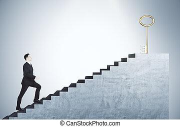 молодой, золотой, альпинизм, лестница, ключ, бизнесмен