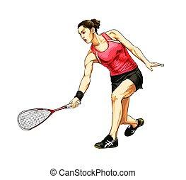 молодой, игра, абстрактные, упражнение, женщина, рука, обучение, ее, ракетка, правильно, squash., сквош