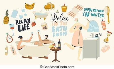 молодой, релаксация, пена, вино, расслабиться, принятие, пара, ванна, сауна, питьевой, procedure., спа, медовый месяц, воды, дата