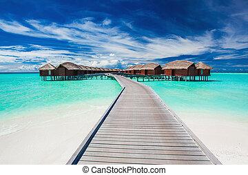 мол, overwater, тропический, связанный, villas, лагуна