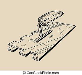 монохромный, вектор, это, иллюстрация, ladder.