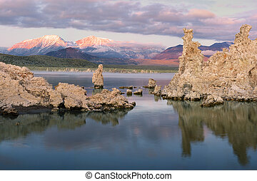 моно, tufas, озеро, восход