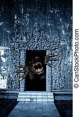 монстр, дверь, открытый, морда, paws
