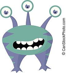 монстр, цвет, большой, 3, вектор, eyes, illustration.